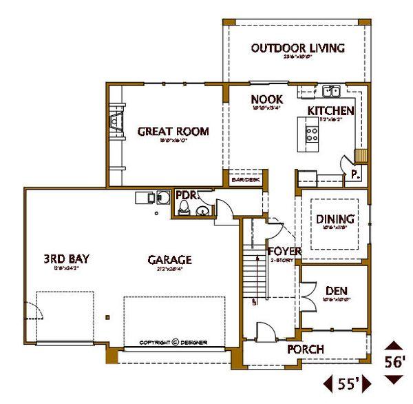 Tudor Floor Plan - Main Floor Plan #487-6