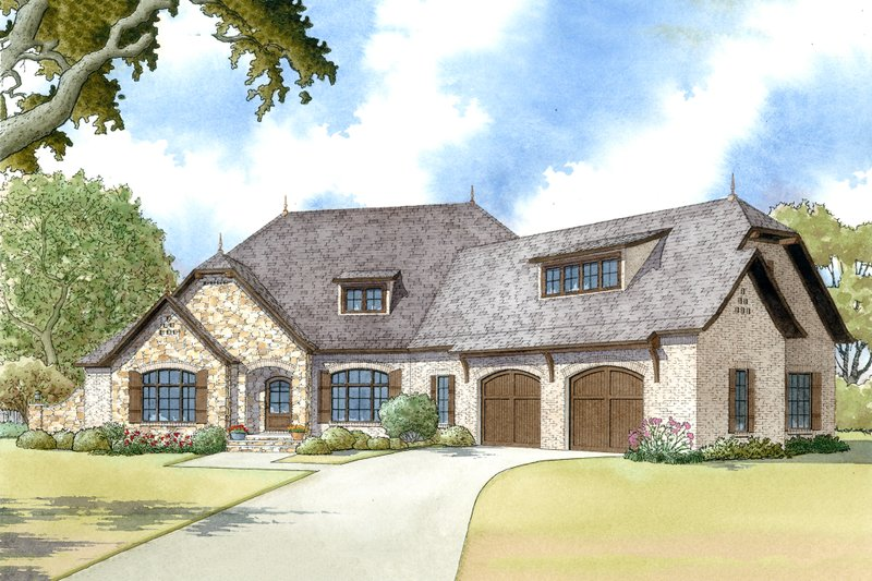 European Style House Plan - 4 Beds 2.5 Baths 2647 Sq/Ft Plan #923-12 Exterior - Front Elevation