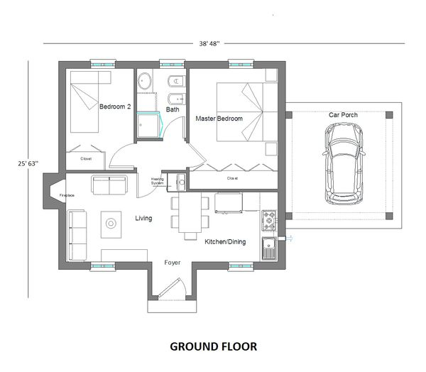 Tudor Floor Plan - Main Floor Plan Plan #542-7