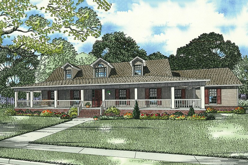 Farmhouse Style House Plan - 3 Beds 3 Baths 1921 Sq/Ft Plan #17-415 Exterior - Front Elevation