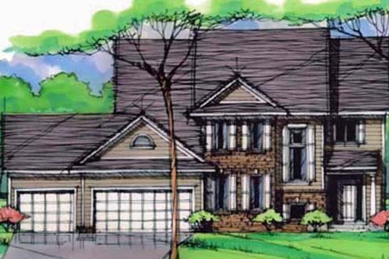 Traditional Style House Plan - 3 Beds 2.5 Baths 2532 Sq/Ft Plan #51-401 Exterior - Front Elevation