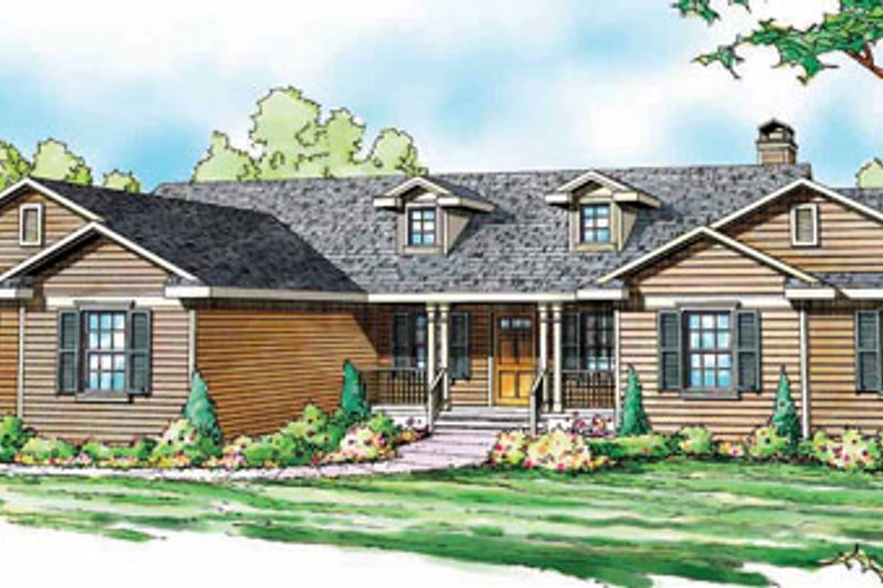 Ranch Exterior - Front Elevation Plan #124-818