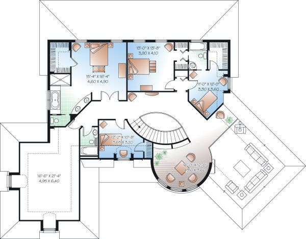 European Floor Plan - Upper Floor Plan Plan #23-843