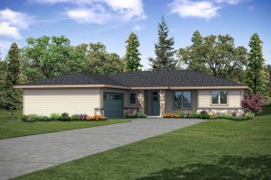 Ranch Exterior - Front Elevation Plan #124-1146