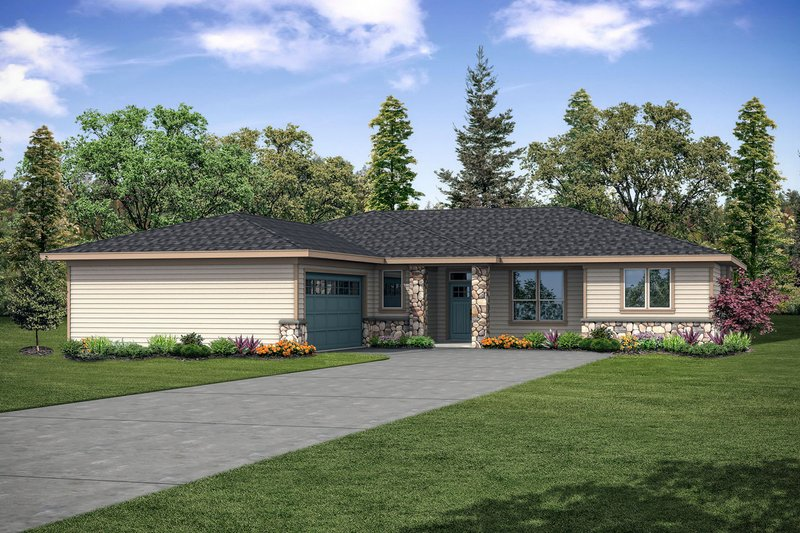 Architectural House Design - Ranch Exterior - Front Elevation Plan #124-1146