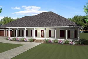 Southern Exterior - Front Elevation Plan #44-173