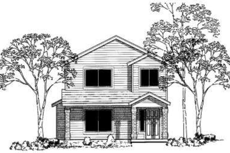 Traditional Style House Plan - 4 Beds 3 Baths 1458 Sq/Ft Plan #303-347 Exterior - Front Elevation