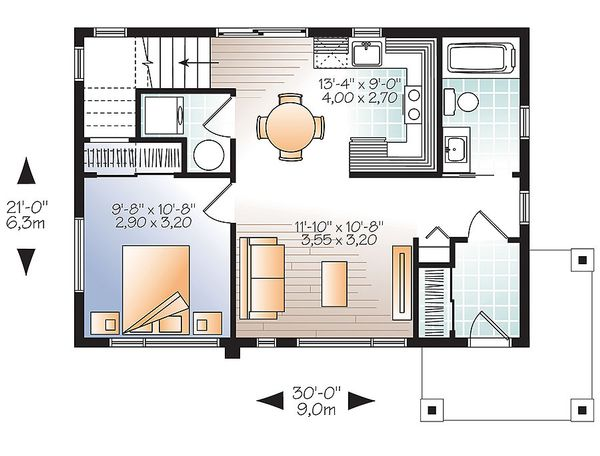 Contemporary Floor Plan - Main Floor Plan Plan #23-2297