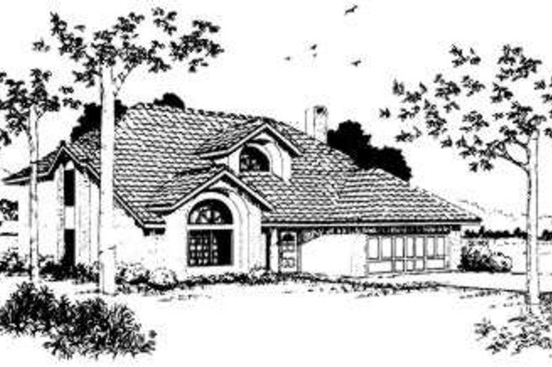 Adobe / Southwestern Style House Plan - 3 Beds 2.5 Baths 1815 Sq/Ft Plan #303-107 Exterior - Front Elevation