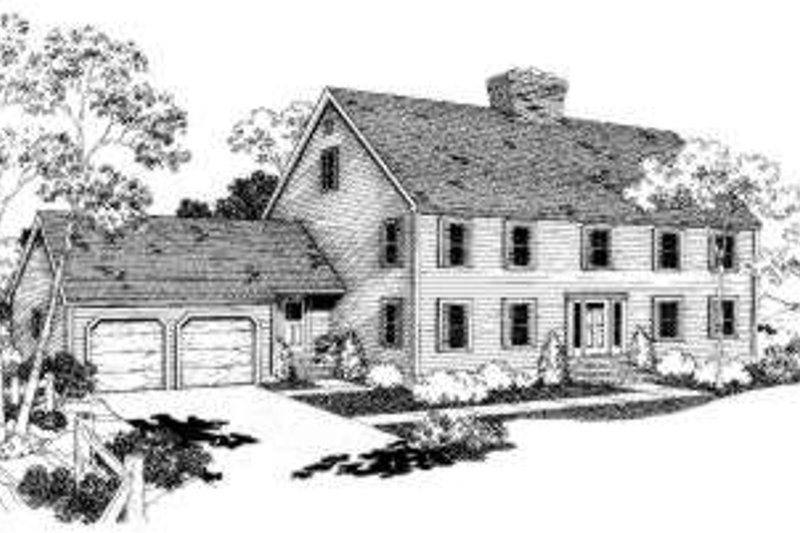Colonial Style House Plan - 4 Beds 2.5 Baths 2159 Sq/Ft Plan #303-121 Exterior - Front Elevation