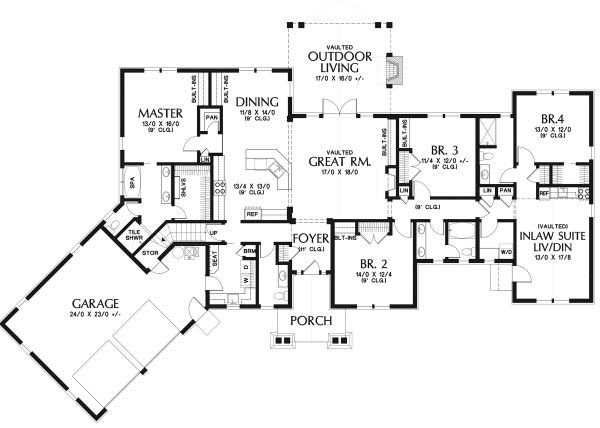 Dream House Plan - Craftsman Floor Plan - Main Floor Plan #48-945