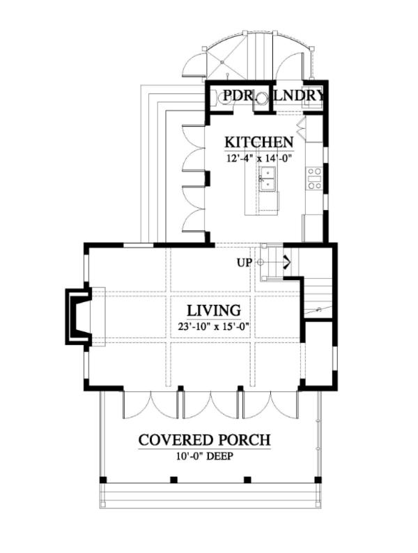 Farmhouse Style House Plan - 1 Beds 1.5 Baths 1035 Sq/Ft Plan #464-14 Floor Plan - Main Floor Plan