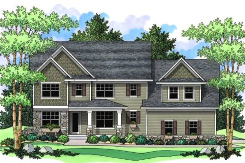 Traditional Style House Plan - 4 Beds 2.5 Baths 2947 Sq/Ft Plan #51-362 Exterior - Front Elevation