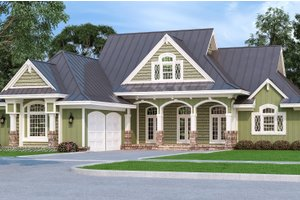 Architectural House Design - Craftsman Exterior - Front Elevation Plan #45-586