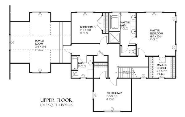 Craftsman Style House Plan - 3 Beds 2.5 Baths 2122 Sq/Ft Plan #901-74 Floor Plan - Upper Floor Plan
