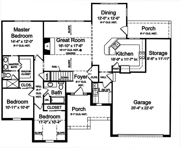 Ranch style house plans, main level floor plan