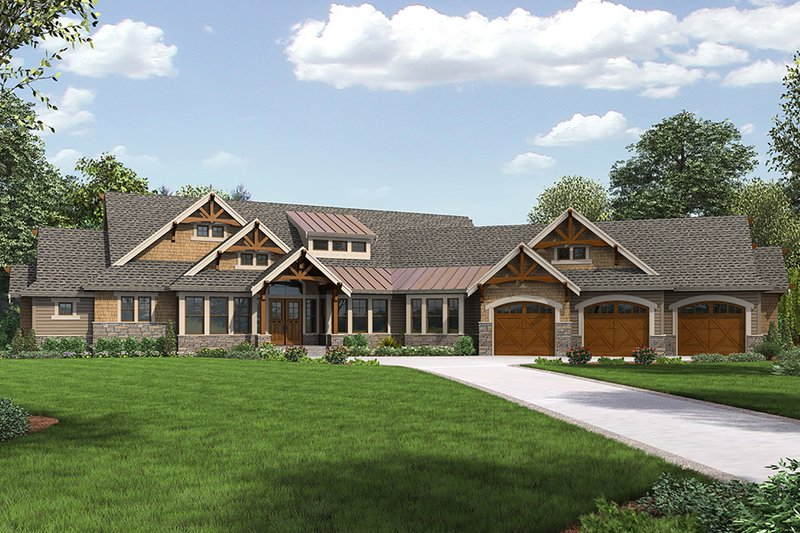 Cottage Style House Plan - 4 Beds 3.5 Baths 4420 Sq/Ft Plan #132-568 Exterior - Front Elevation