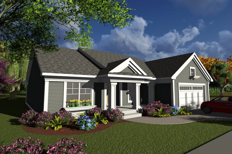 Ranch Style House Plan - 2 Beds 2 Baths 1540 Sq/Ft Plan #70-1237 Exterior - Front Elevation
