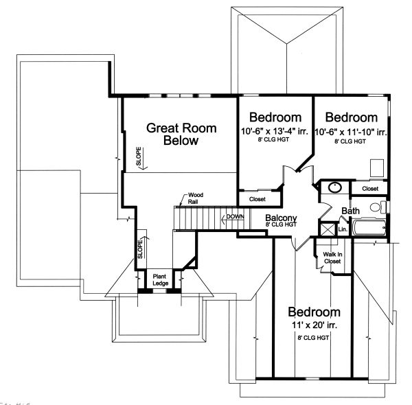 Country Floor Plan - Upper Floor Plan Plan #46-900