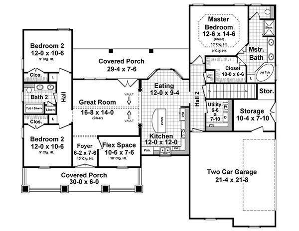 Craftsman Floor Plan - Main Floor Plan #21-353