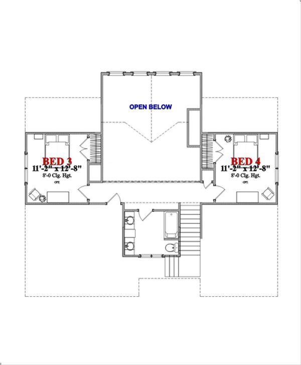 Beach Floor Plan - Upper Floor Plan Plan #63-355