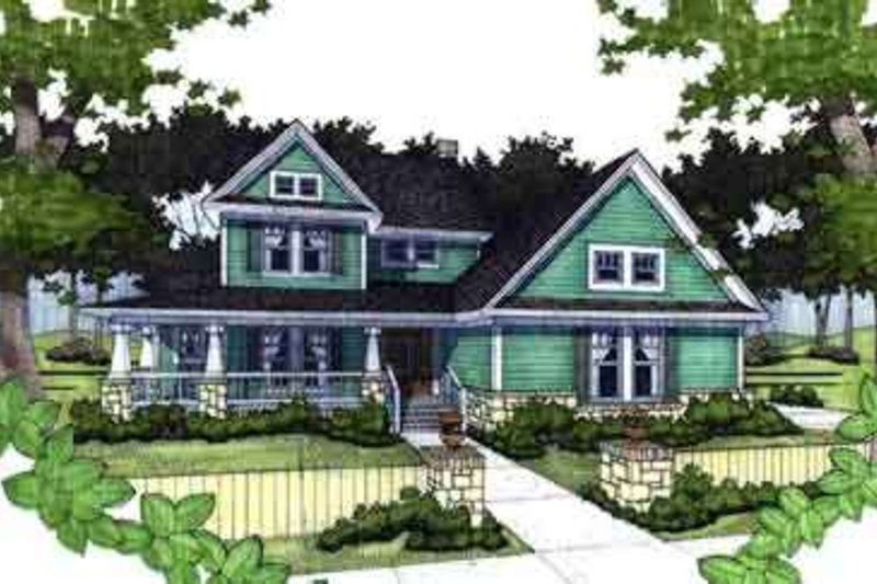 Country Style House Plan - 3 Beds 3 Baths 1952 Sq/Ft Plan #120-142 Exterior - Front Elevation