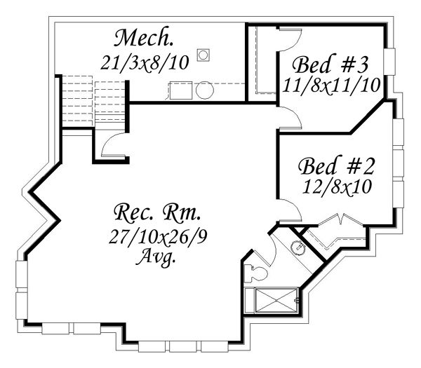 Modern Style House Plan - 4 Beds 3.5 Baths 2747 Sq/Ft Plan #509-1 Floor Plan - Lower Floor Plan