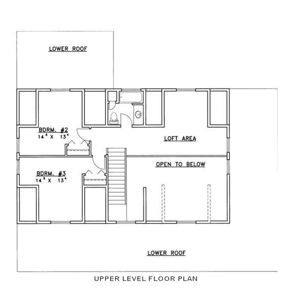 Log Floor Plan - Upper Floor Plan Plan #117-555