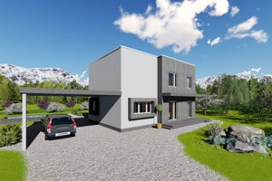 Modern Exterior - Front Elevation Plan #549-13