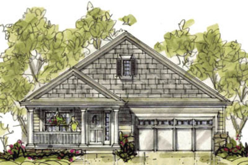 Cottage Exterior - Front Elevation Plan #20-1210