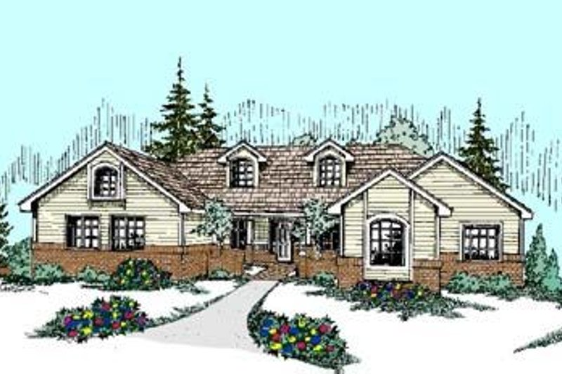 Traditional Style House Plan - 4 Beds 2 Baths 2567 Sq/Ft Plan #60-280 Exterior - Front Elevation
