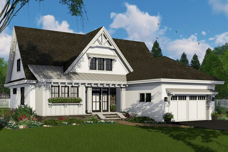 Farmhouse Style House Plan - 4 Beds 3.5 Baths 2584 Sq/Ft Plan #51-1147 Exterior - Front Elevation