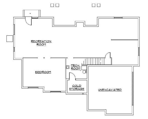 Ranch Floor Plan - Lower Floor Plan Plan #5-242