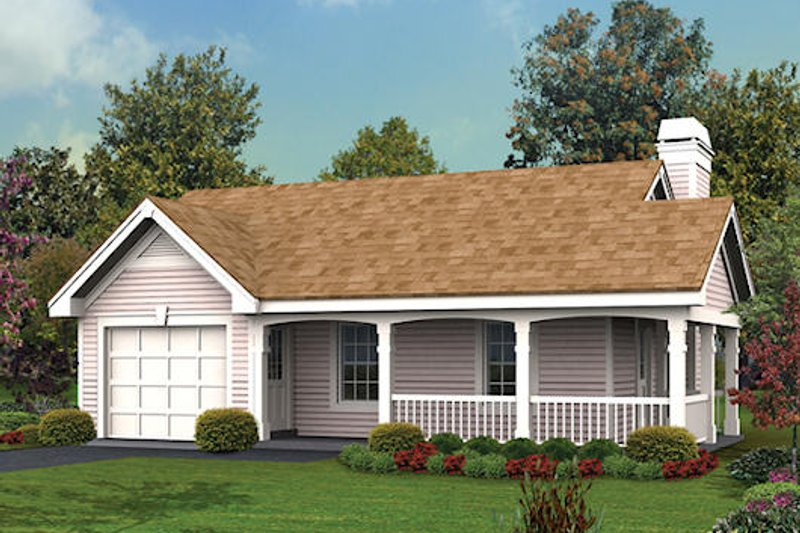 Cottage Style House Plan - 1 Beds 1 Baths 480 Sq/Ft Plan #57-347 Exterior - Front Elevation