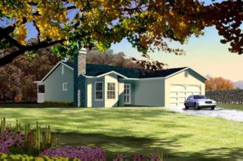 Adobe / Southwestern Style House Plan - 3 Beds 2.5 Baths 1659 Sq/Ft Plan #1-173 Exterior - Front Elevation
