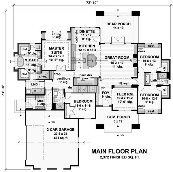 Craftsman Floor Plan - Main Floor Plan Plan #51-572