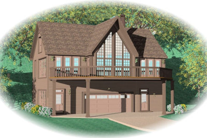 European Style House Plan - 2 Beds 2 Baths 2263 Sq/Ft Plan #81-13665 Exterior - Front Elevation