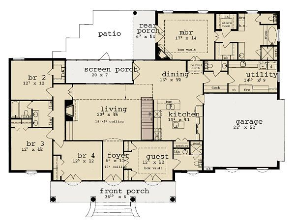 European Floor Plan - Main Floor Plan Plan #36-466
