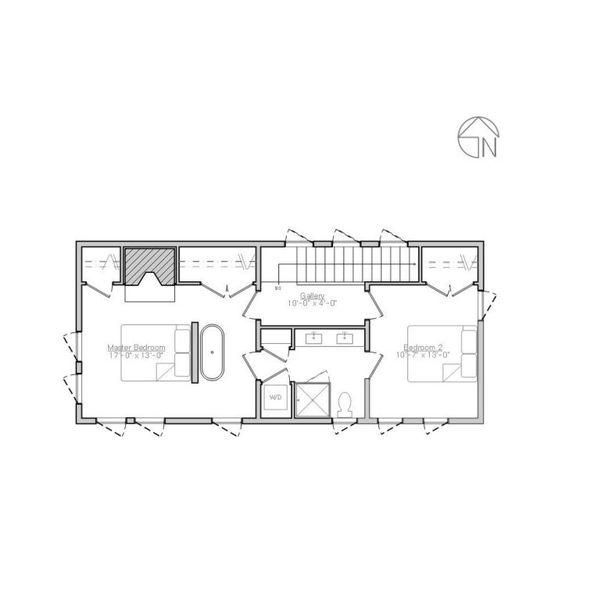 Modern Style House Plan - 2 Beds 1.5 Baths 1340 Sq/Ft Plan #914-5 Floor Plan - Upper Floor Plan