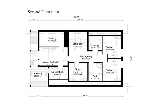 Log Floor Plan - Upper Floor Plan Plan #549-6