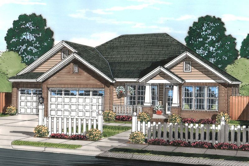 Traditional Style House Plan - 4 Beds 3 Baths 2062 Sq/Ft Plan #513-2068 Exterior - Front Elevation