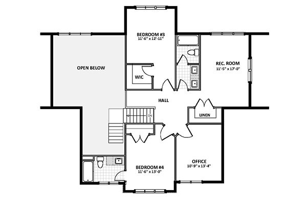 Country Floor Plan - Upper Floor Plan Plan #898-47