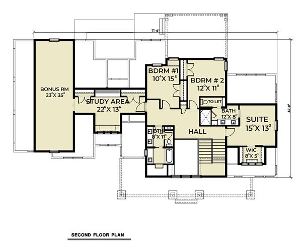 House Plan Design - Farmhouse Floor Plan - Upper Floor Plan #1070-36