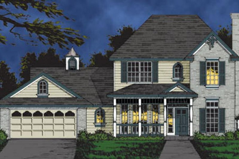 Traditional Style House Plan - 5 Beds 2.5 Baths 2098 Sq/Ft Plan #40-107 Exterior - Front Elevation