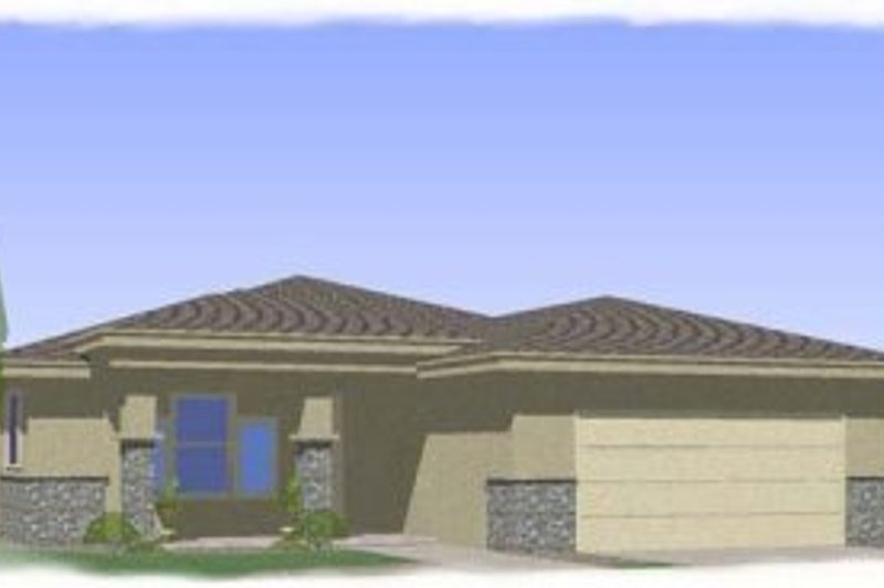 Mediterranean Style House Plan - 3 Beds 2 Baths 1763 Sq/Ft Plan #24-238 Exterior - Front Elevation