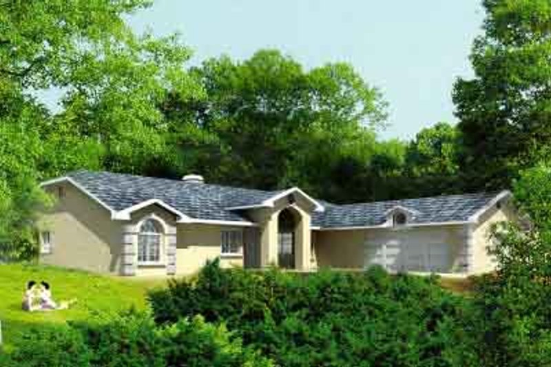 Ranch Style House Plan - 4 Beds 2 Baths 1889 Sq/Ft Plan #1-1098 Exterior - Front Elevation