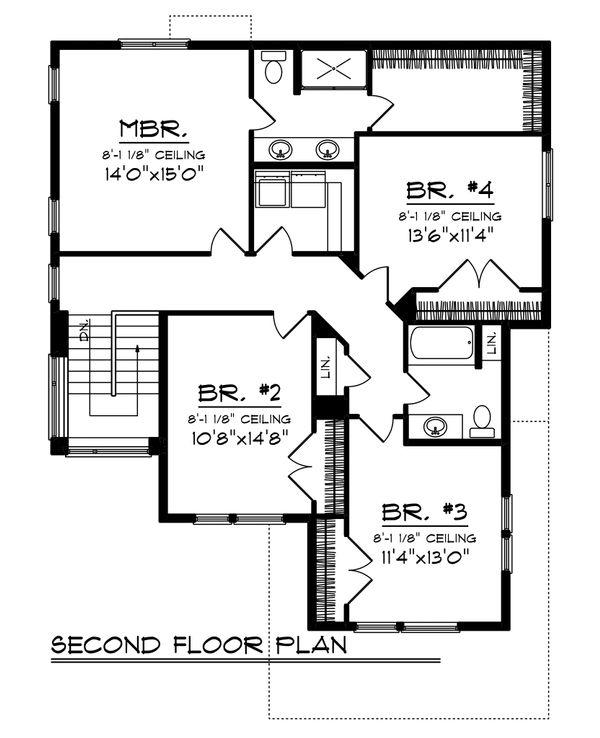 Modern Floor Plan - Upper Floor Plan Plan #70-1465