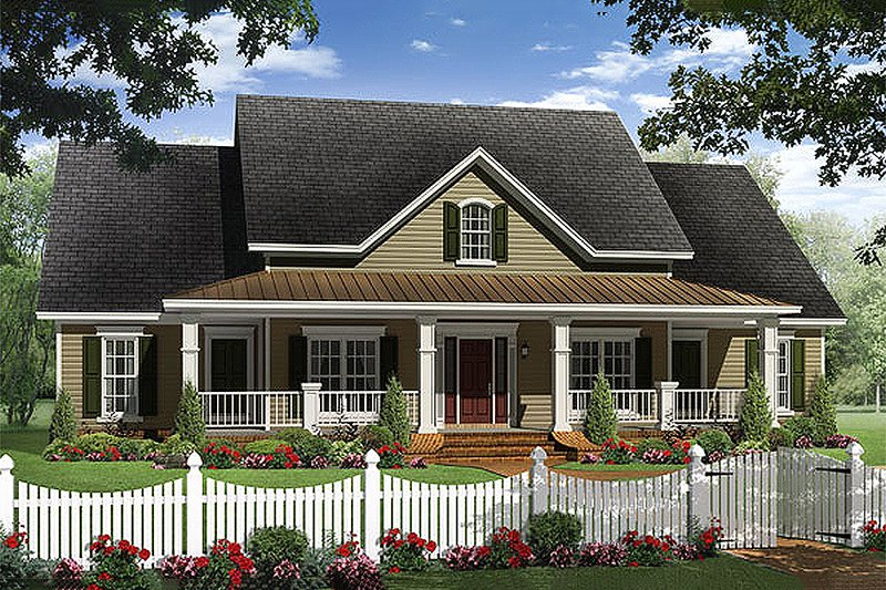 Country Style House Plan - 4 Beds 3.5 Baths 2402 Sq/Ft Plan #21-307 Exterior - Front Elevation