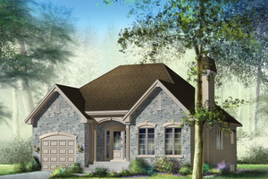 European Exterior - Front Elevation Plan #25-4302