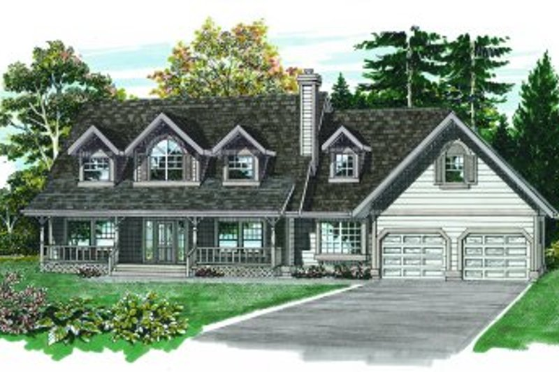 Traditional Style House Plan - 3 Beds 2.5 Baths 2044 Sq/Ft Plan #47-273 Exterior - Front Elevation